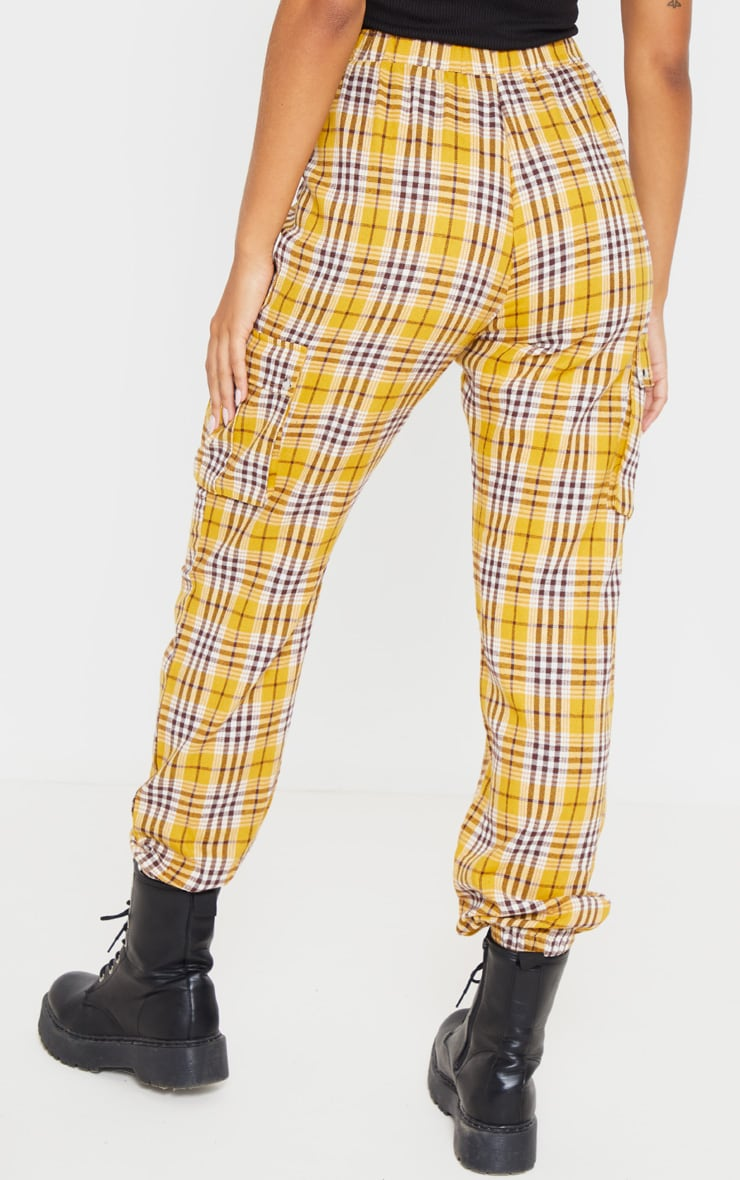 Yellow Check Pocket Detail Cargo Pants 4