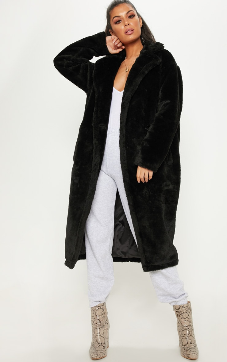 Black Large Lapel Midaxi Faux Fur Coat 1