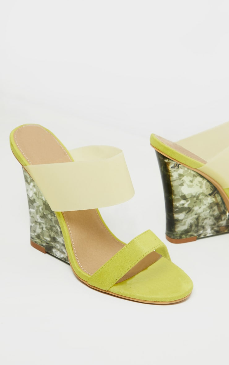 Yellow Tortoise Wedge Mule Sandal 3