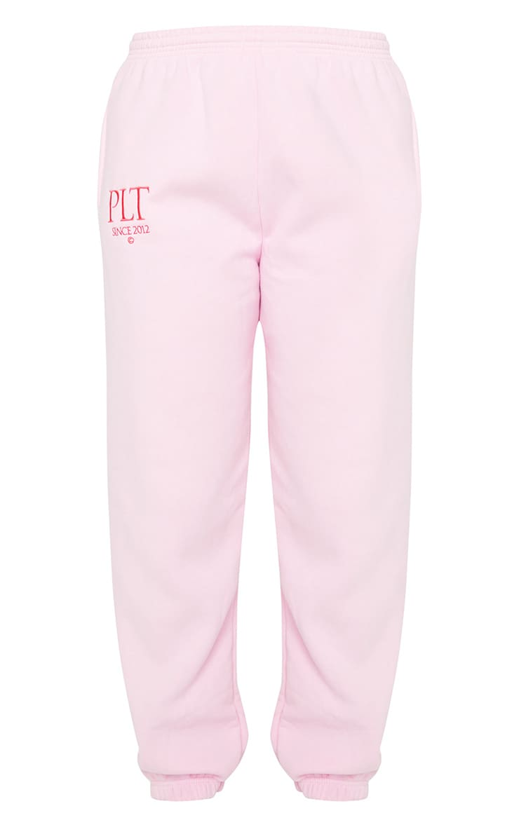 PRETTYLITTLETHING Baby Pink Established Slogan Casual Joggers 5