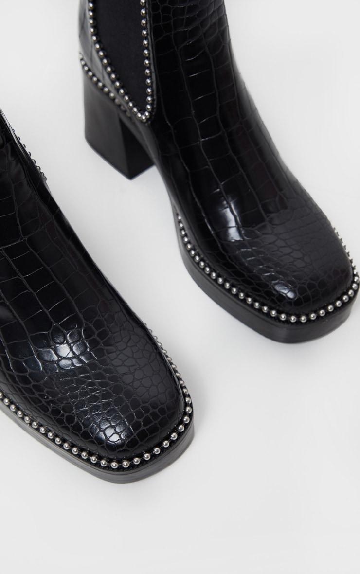 Black Square Toe Chunky Block Heel Chelsea Boot 5