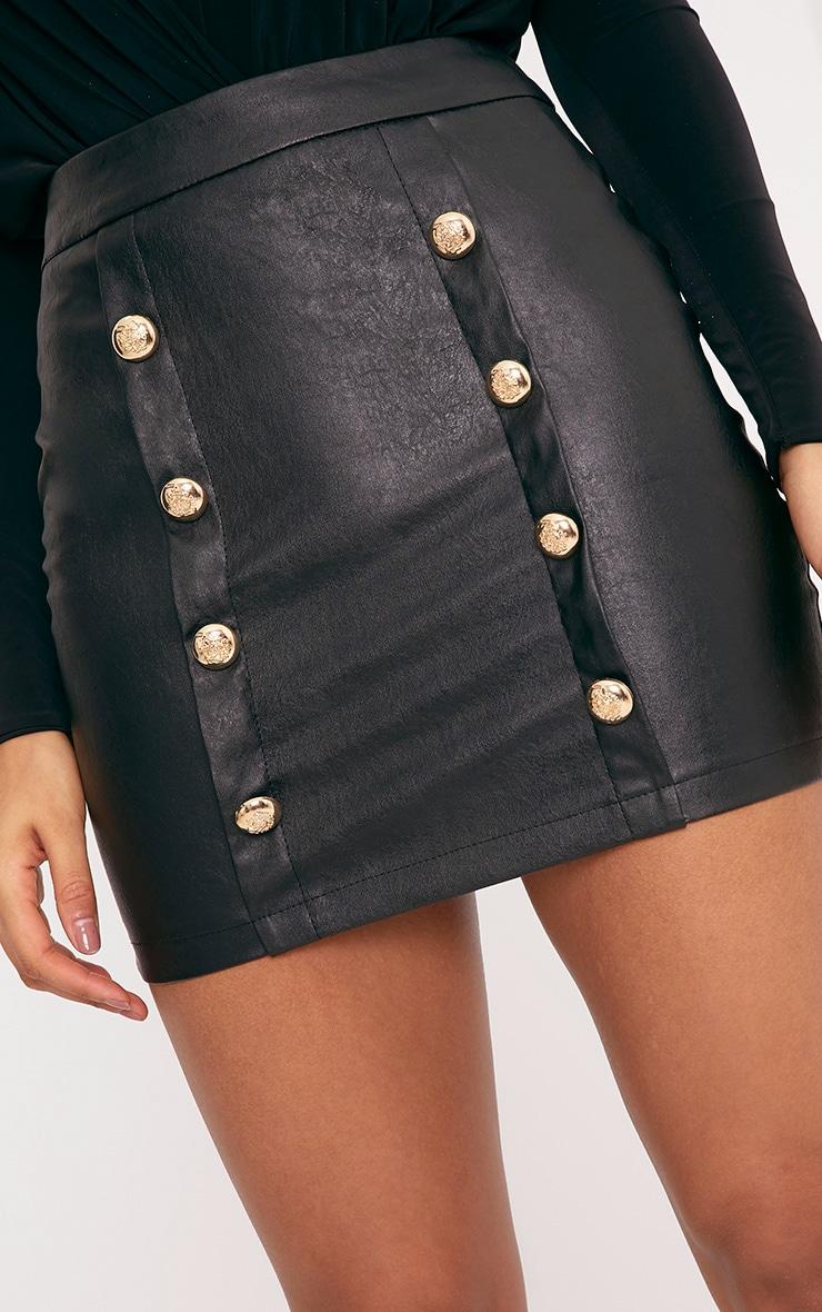 Rexi Black Button PU Mini Skirt 6