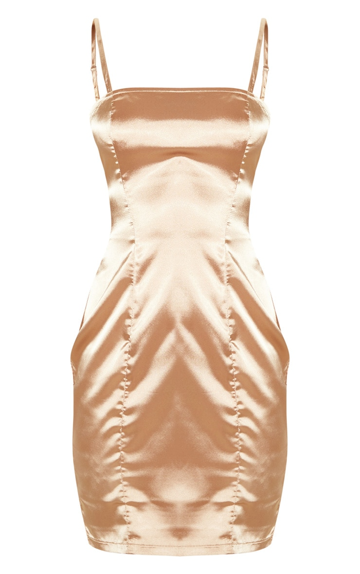 Tall Mocha Satin Strappy Straight Neck Bodycon Dress 3