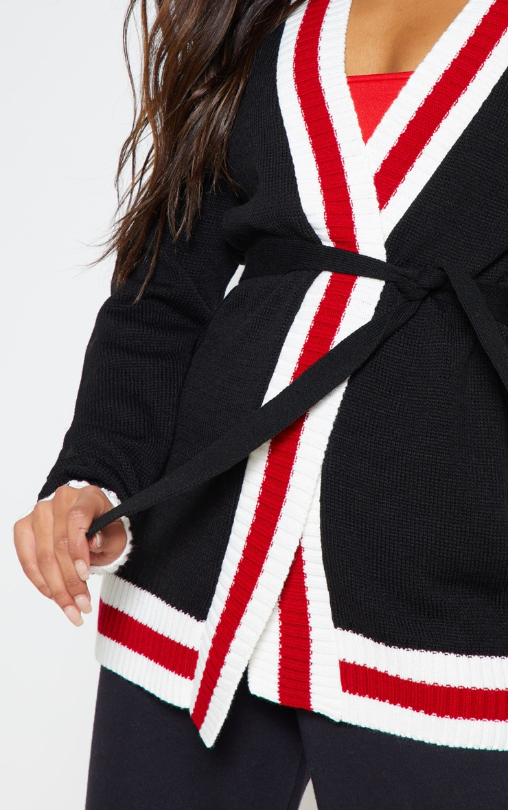 Black Stripe Detail Belted Knitted Cardigan 4