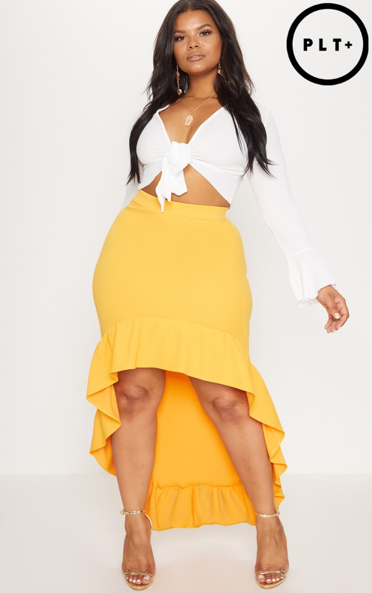 Plus Orange Frill Hem Midi Skirt 1