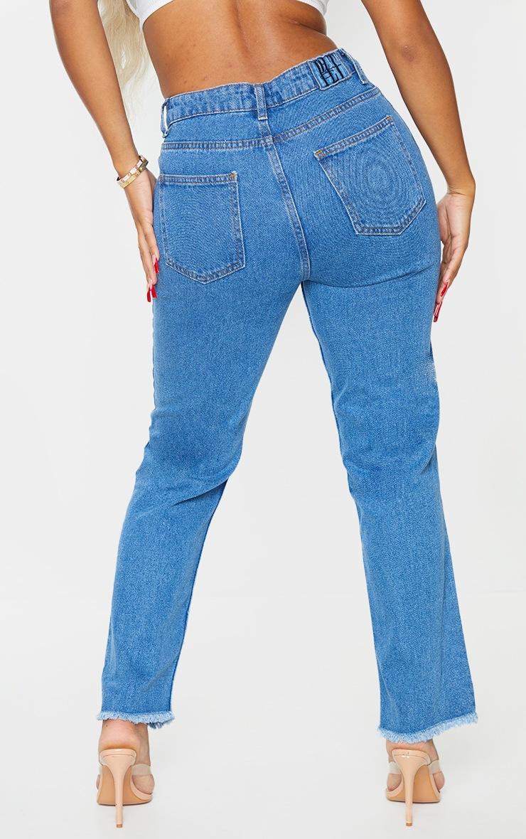 PRETTYLITTLETHING Shape Mid Blue Wash Ripped Hem Straight Leg Jeans 3