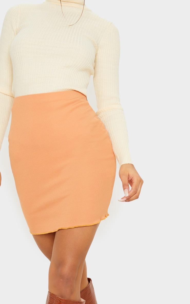 Camel Rib Lettuce Hem Mini Skirt 6