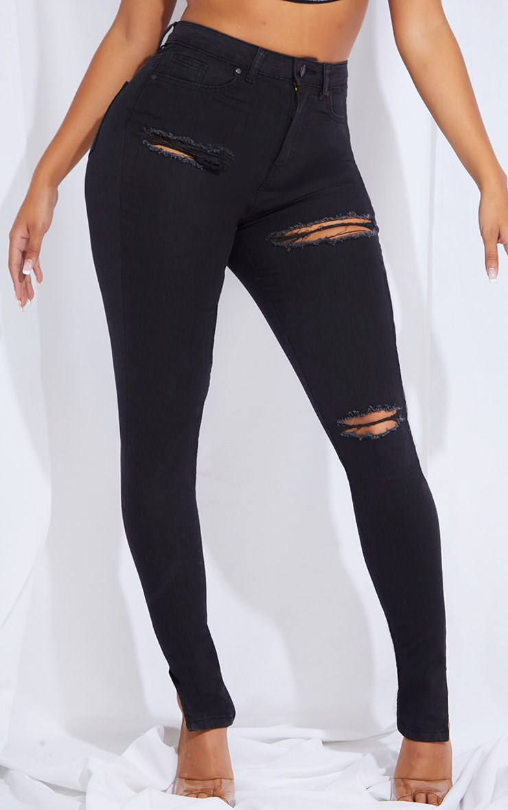 Shape Black Distressed Stretch Split Hem Skinny Jean 2