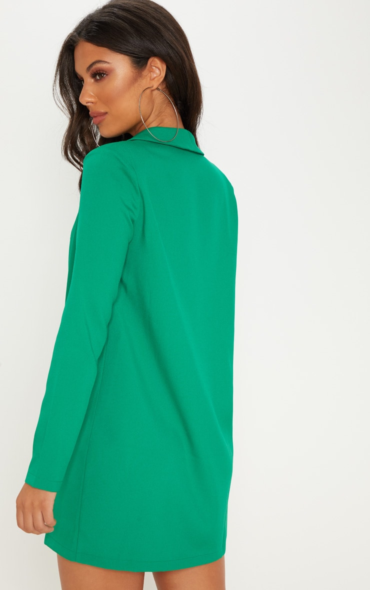 Green Asymmetric Hem Oversized Blazer Dress 2