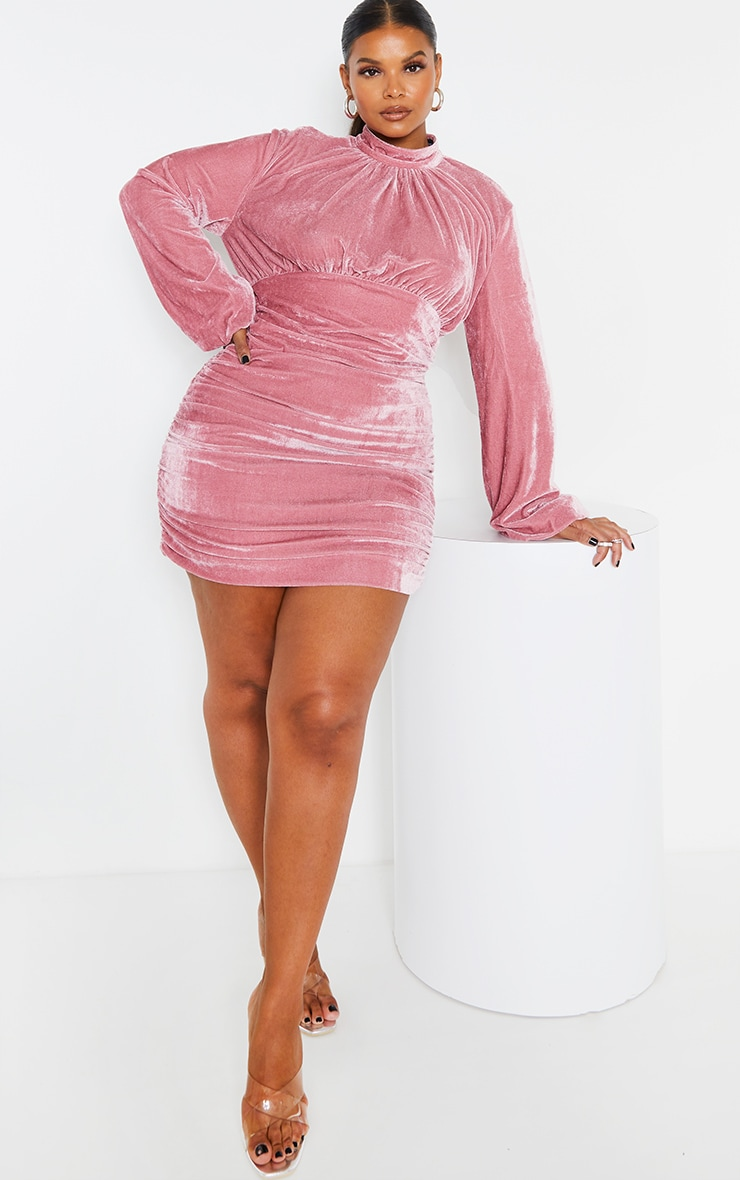 Plus Dusty Pink Velvet High Neck Ruched Balloon Sleeve Bodycon Dress 1