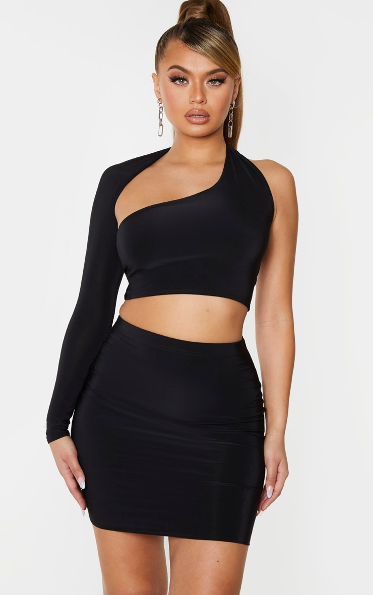 Black Slinky One Shoulder Asymmetric Crop Top 1