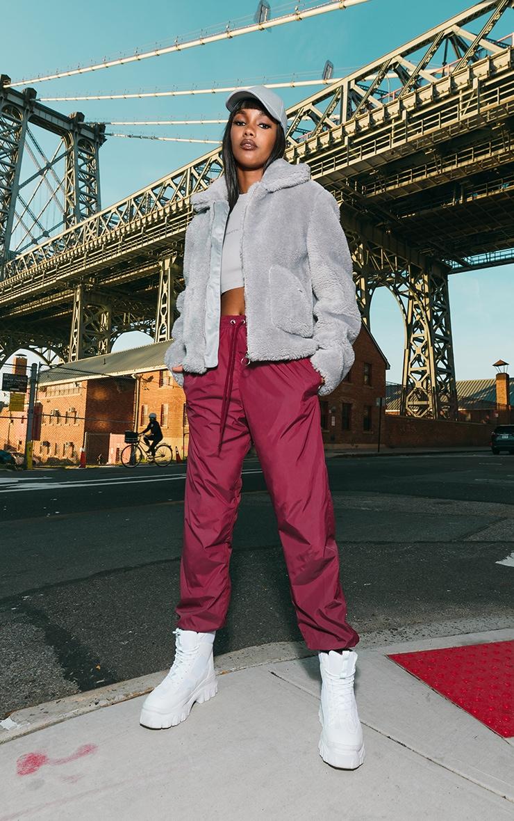 Grey Teddy Faux Fur Pocket Front Jacket 3