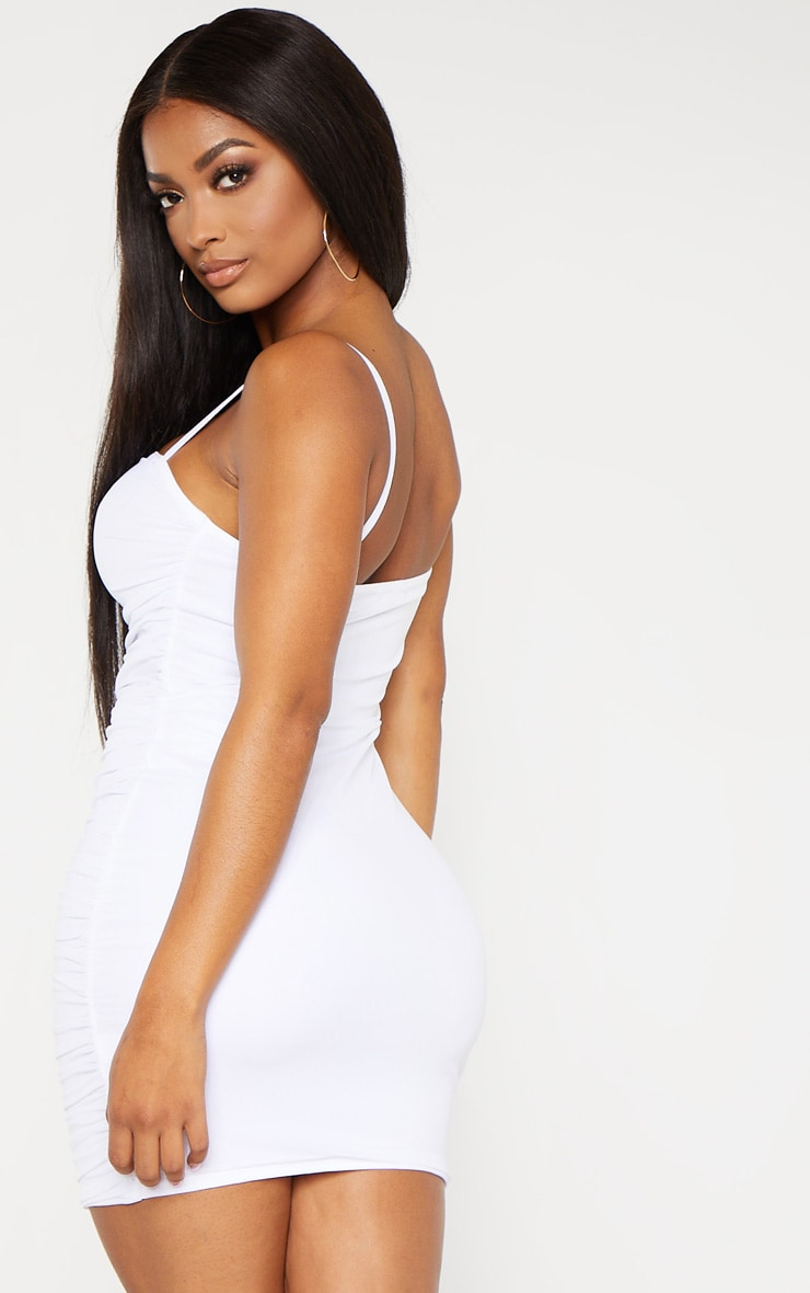 Shape White Strappy Ruched Mesh Cut Out Dress 2