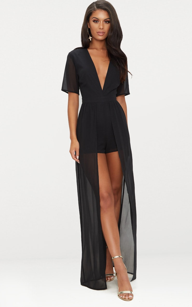 Black Maxi Overlay Playsuit 1