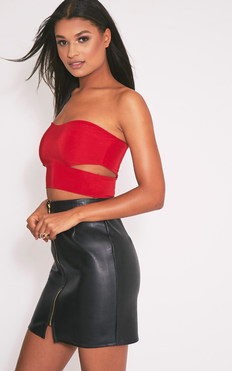 Denise Red Cut Out Side Slinky Bandeau 4