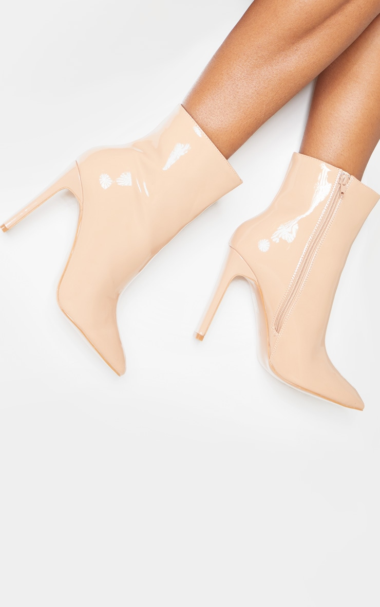 Nude Patent Wide Fit Flat Heel Point Ankle Boot 2