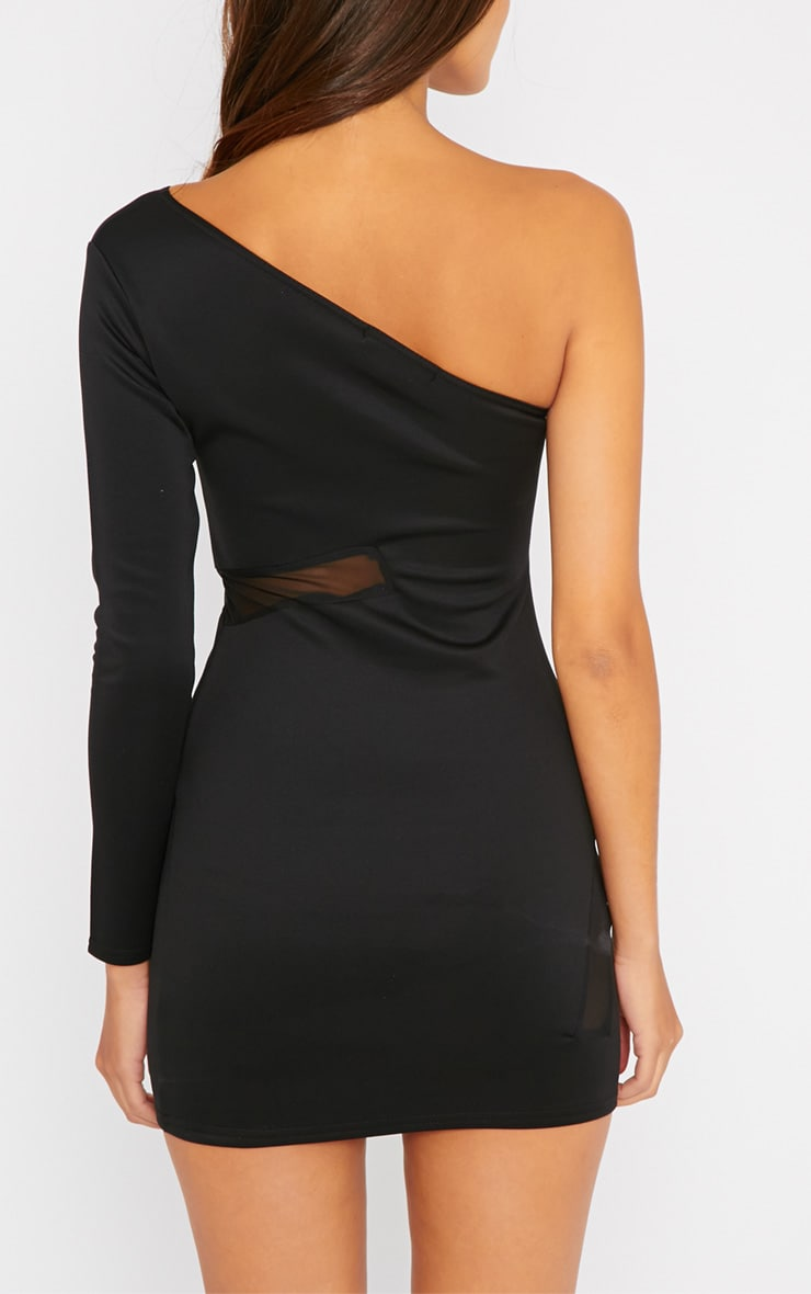 Skyla Black One Shoulder Mesh Insert Mini Dress 2