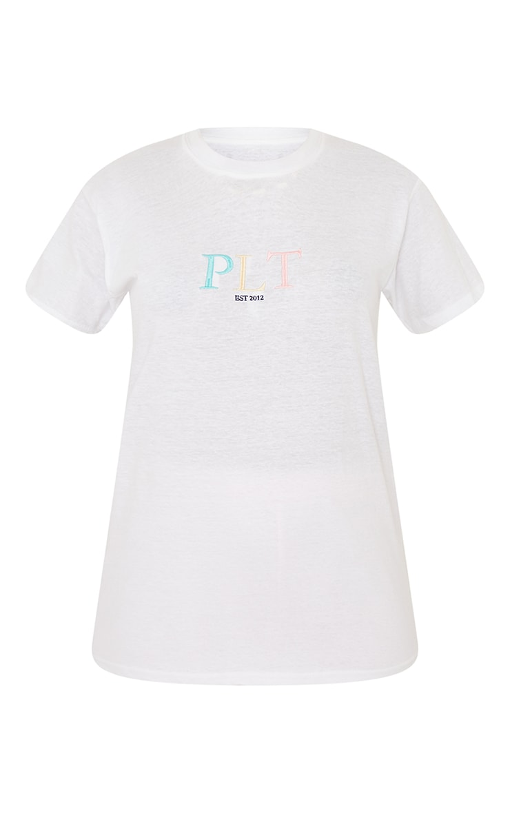 PRETTYLITTLETHING White Multi Embroidered T Shirt 5