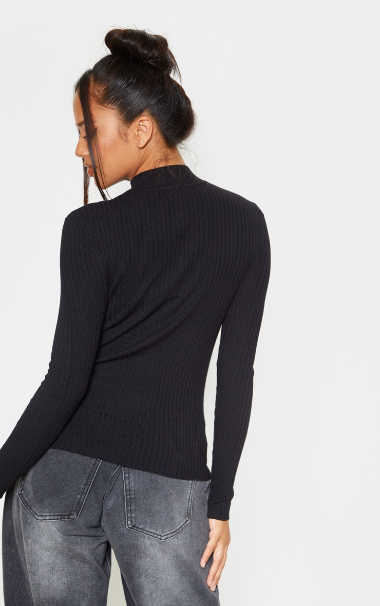 Black Zip Front Knitted Rib Top 2