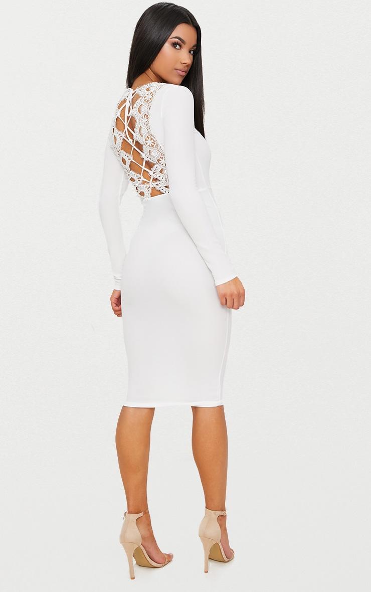 White Lace Up Back Midi Dress 1
