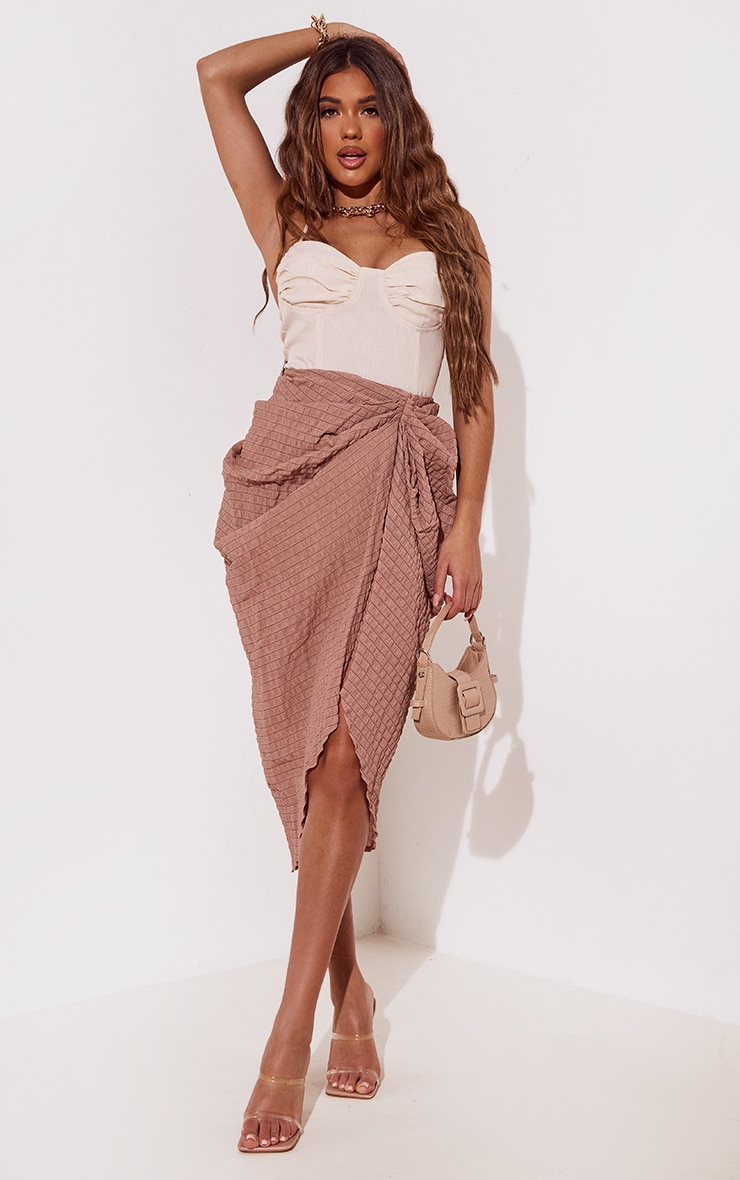 Taupe Textured Crepe Ruched Side Midi Skirt 1