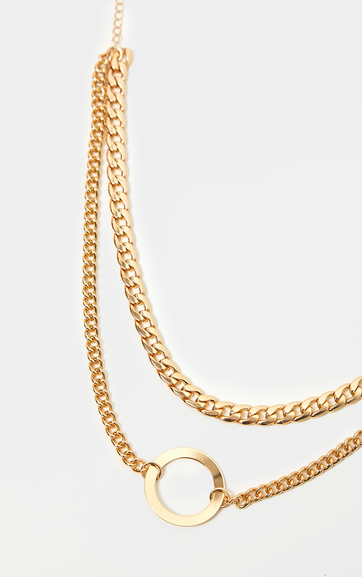 Gold Double Chain Hoop Necklace 3