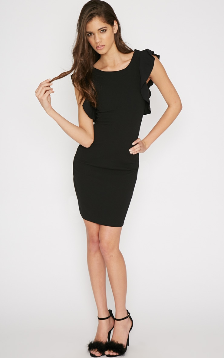 Hazel Black Frill Back Mini Dress 3