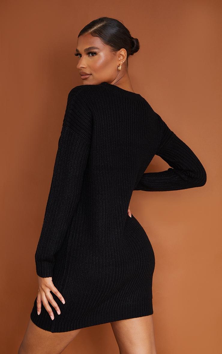 Robe pull basique noire  3