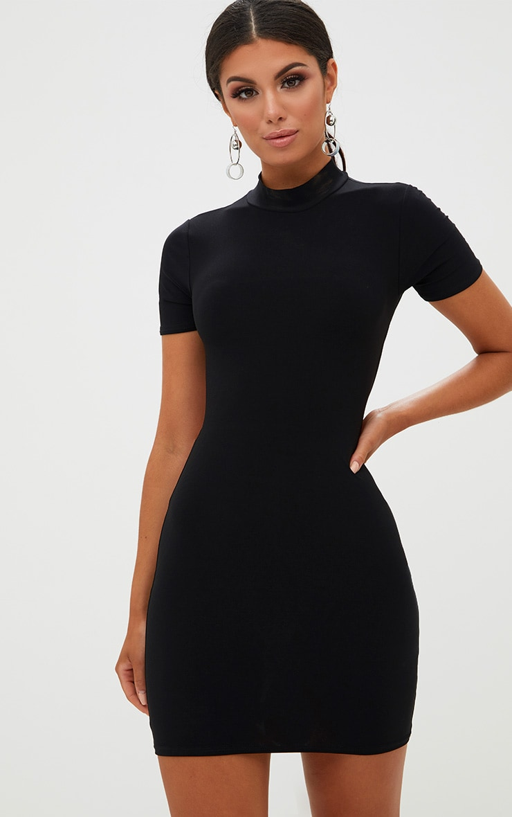 Black High Neck Short Sleeve Tie Back Bodycon Dress 1