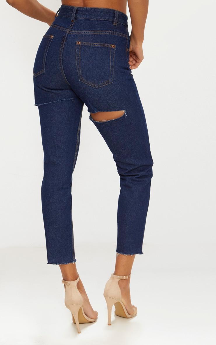 Indigo Double Thigh Rip Mom Jean 4
