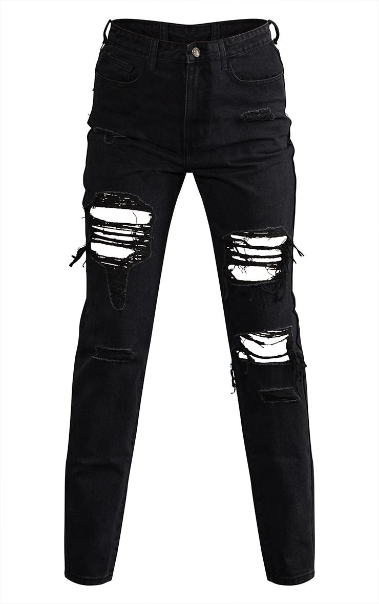 PRETTYLITTLETHING Tall Black Denim Ripped Mom Jeans 5