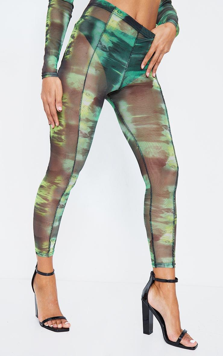 Green Abstract Water Colour Print Sheer Mesh Binding Leggings 4