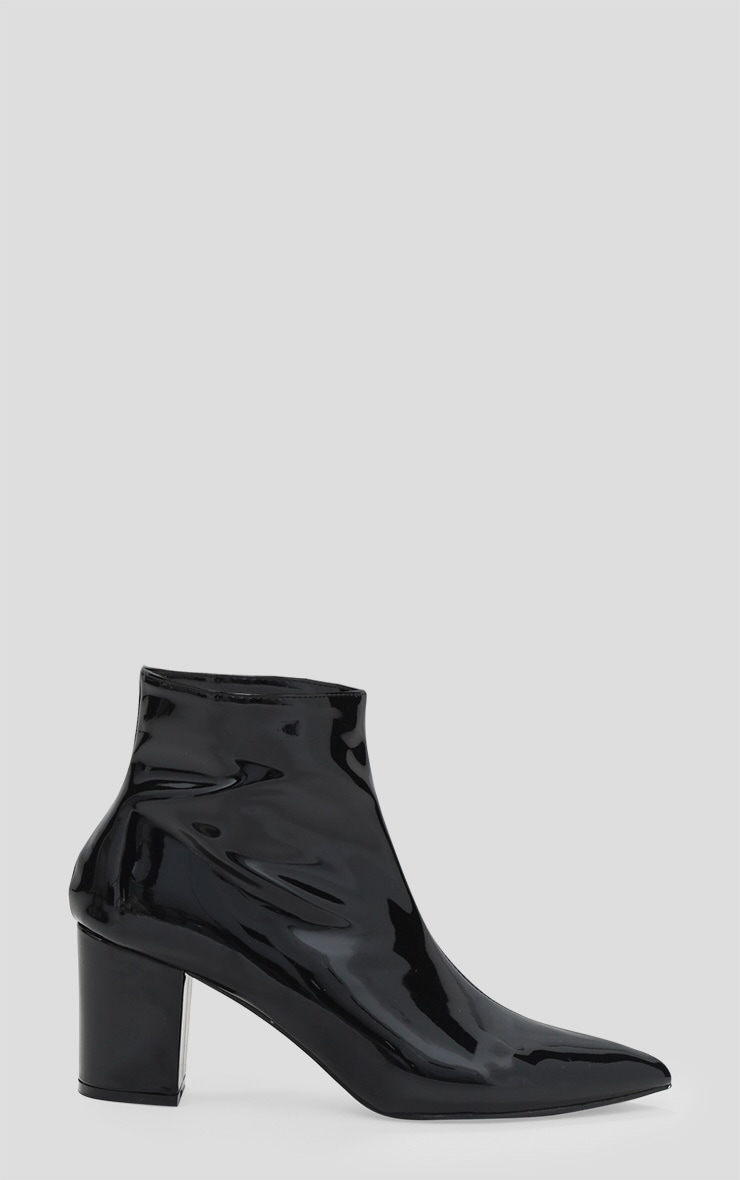 Black High Shine Metallic Block Heel Ankle Boot 3