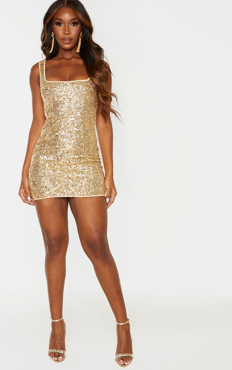 Gold Sequin Sleeveless Square Neck Bodycon Dress 4