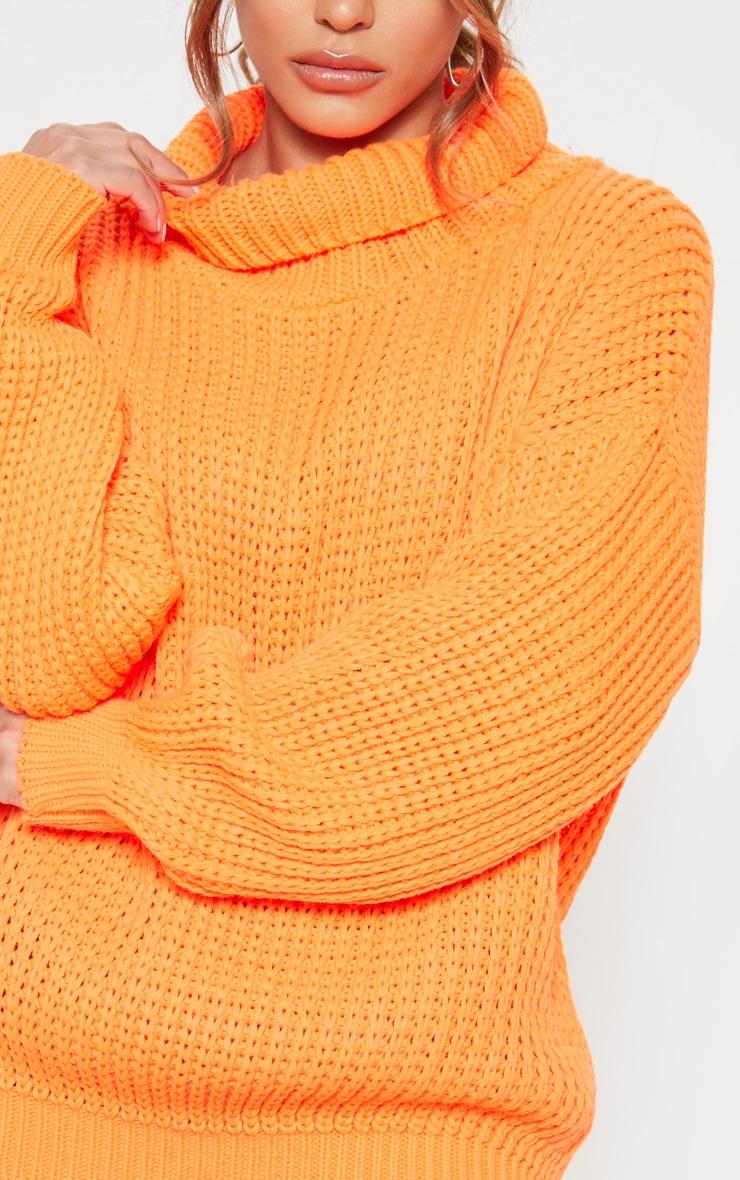 Petite Neon Orange Roll Neck Oversized Chunky Knit Jumper 5