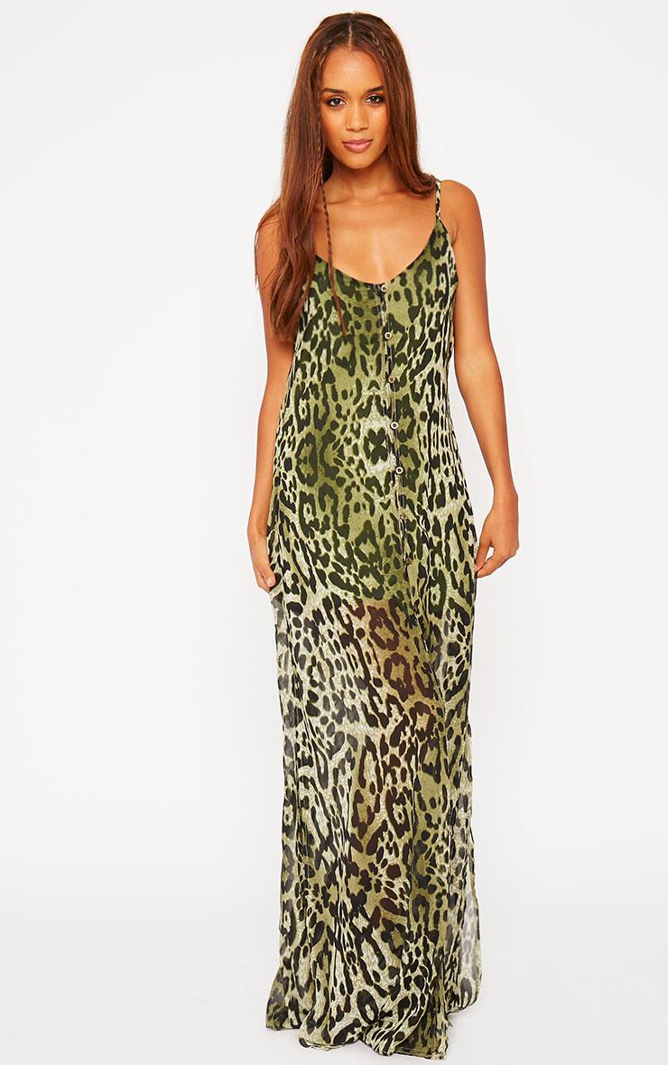 Jamila Green Leopard Print Button Front Maxi Dress 3