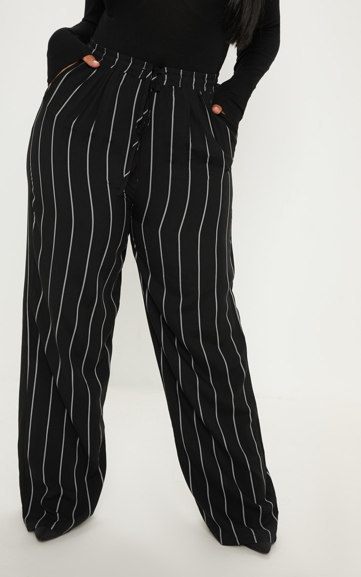 Plus Black Casual Wide Leg Trouser 2