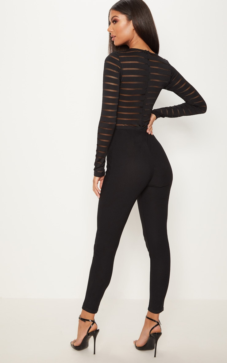 Black Burn Out Mesh Jumpsuit 2