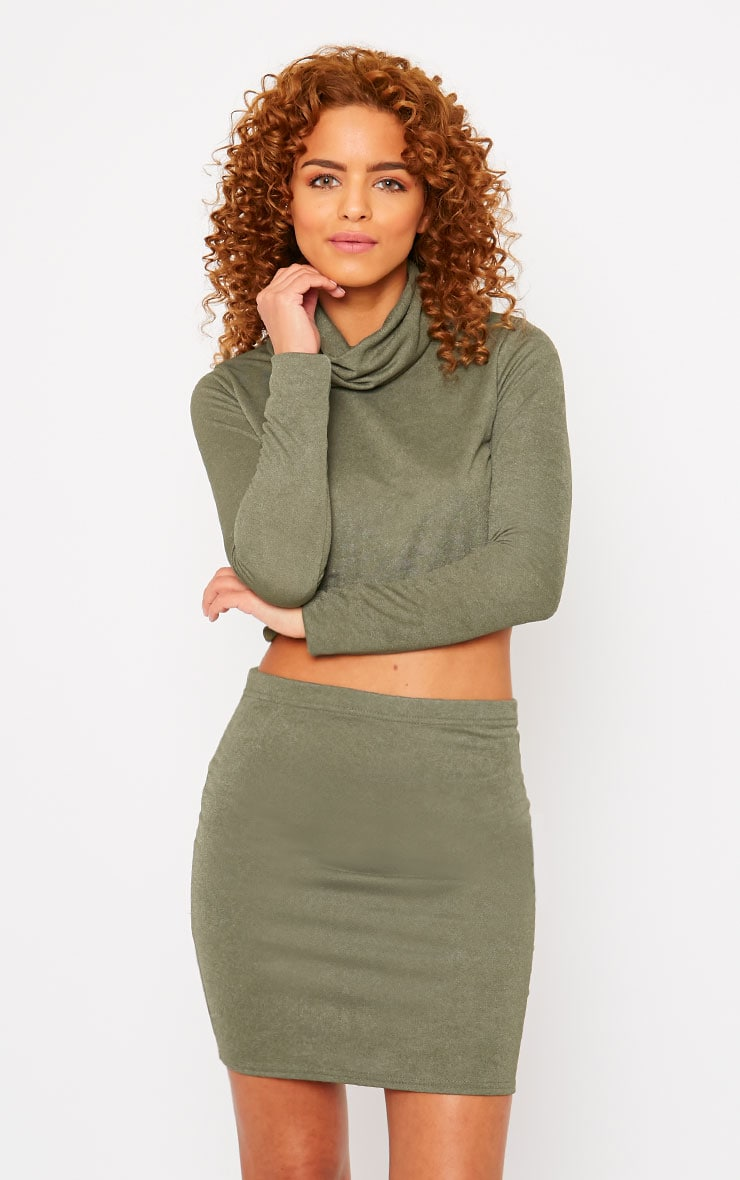 Emilia Khaki Crepe Roll Neck Crop Top  1