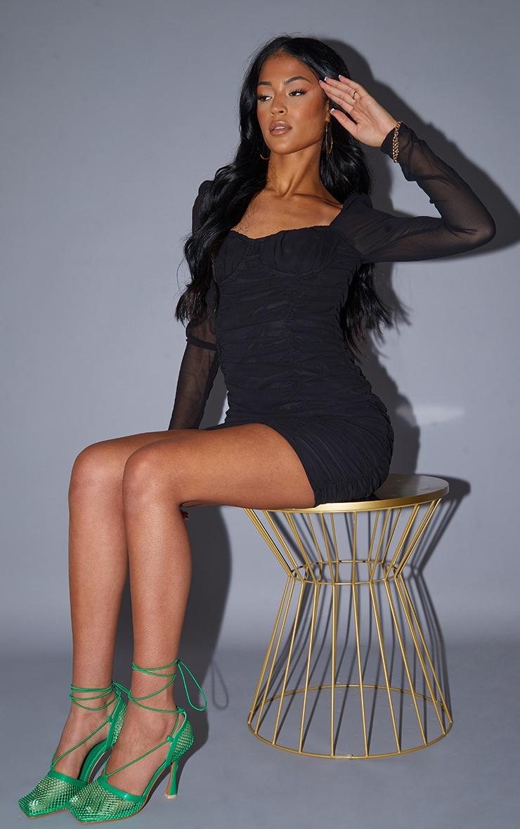 Tall Black Ruched Mini Dress 4