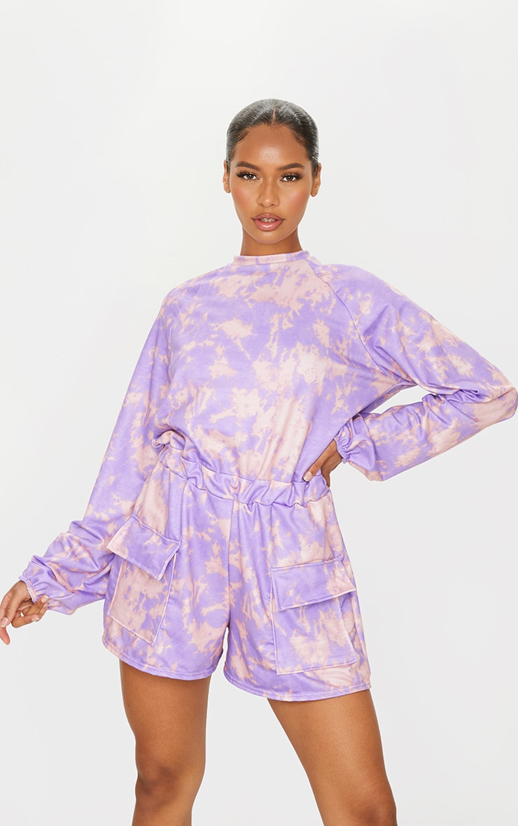 Purple Tie Dye Sweat Long Sleeve Pocket Playsuit 3