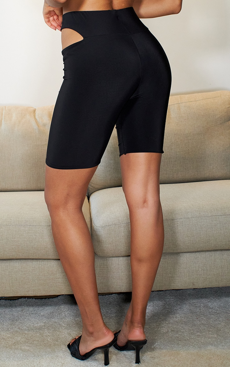 Black Cut Out Slinky Cycle Shorts 3