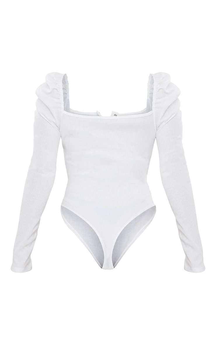 Cream Rib Puff Long Sleeve Bodysuit 6
