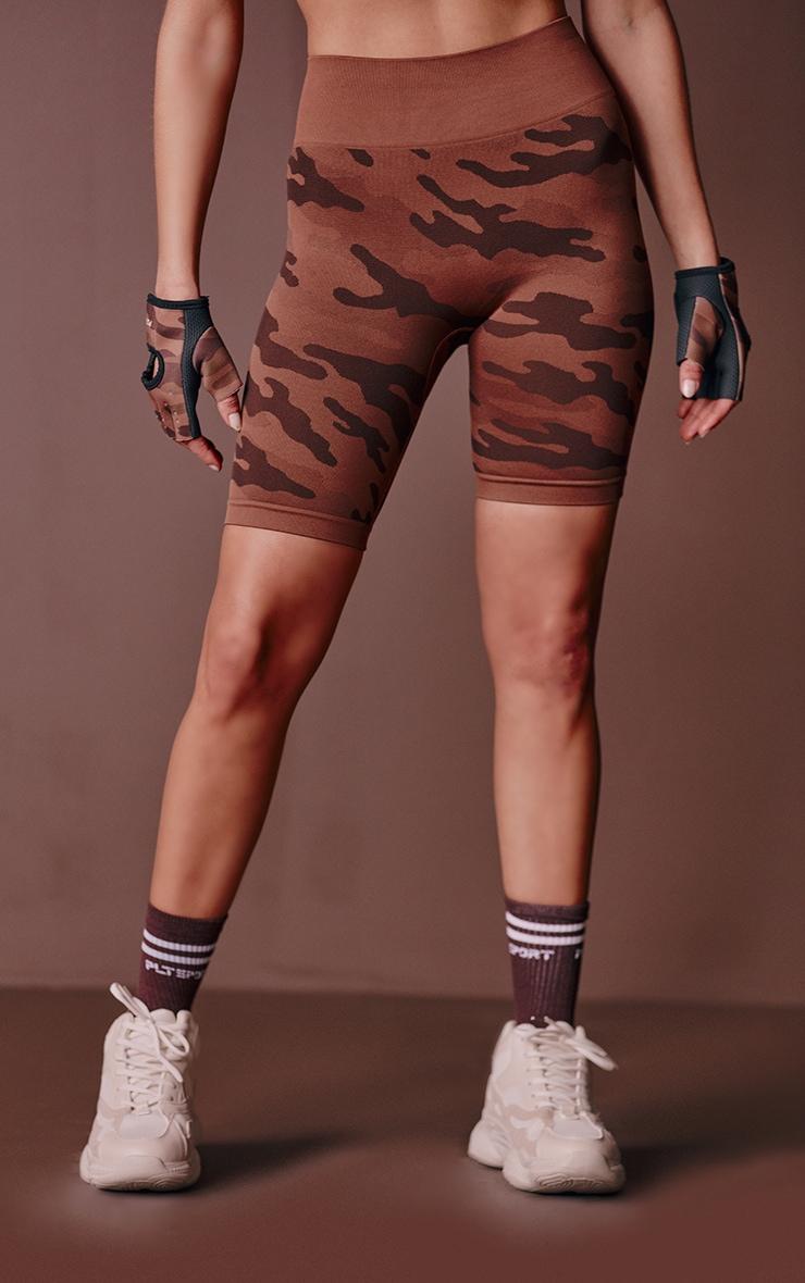 Mocha Camo Seamless Bike Shorts 2