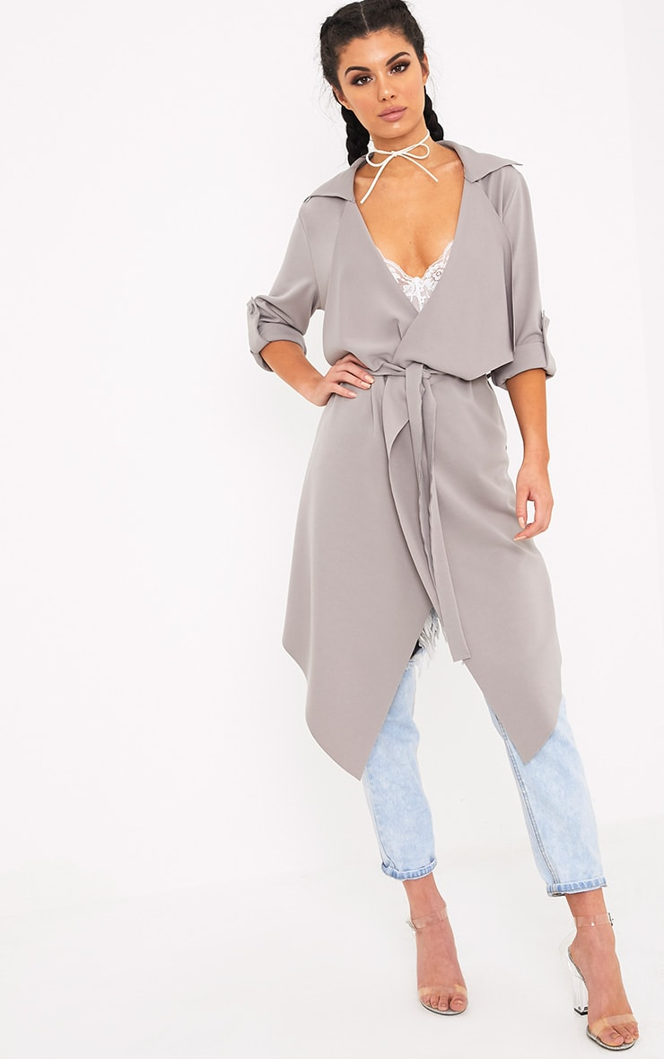 Annalie Grey Belted Waterfall Coat 3
