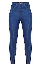 Mid Wash Seam Detail Skinny Jeans 3