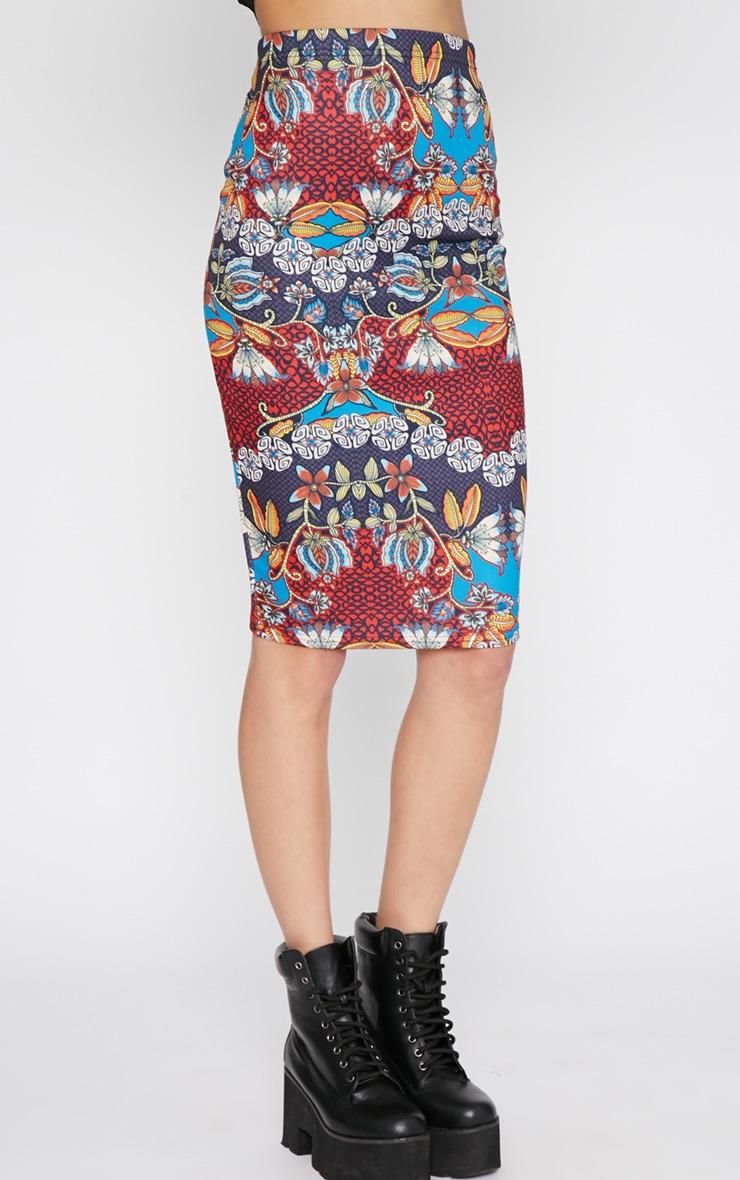 Yoko Tribal Print Midi Skirt 4