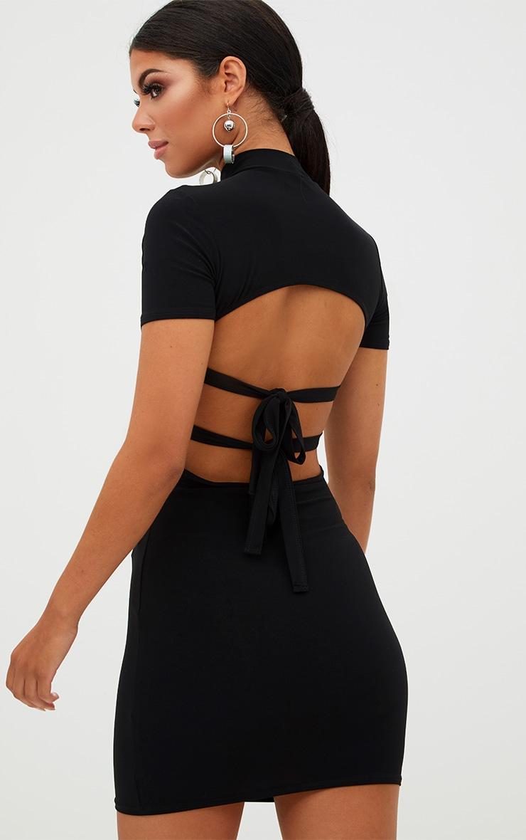 Black High Neck Short Sleeve Tie Back Bodycon Dress 2