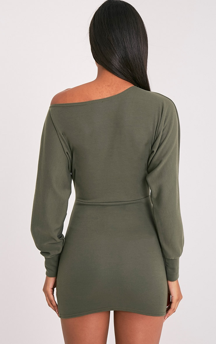Narlie Khaki Off The Shoulder Sweater Dress 2