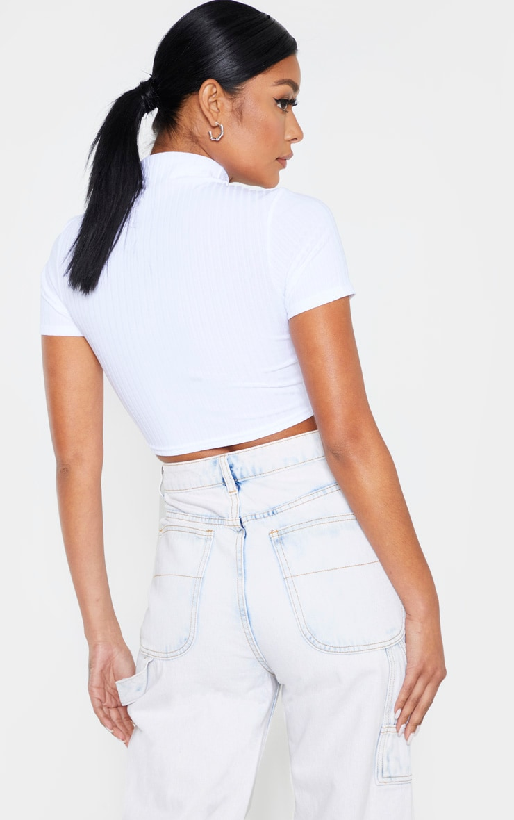White Rib High Neck Cut Out Crop Top 2